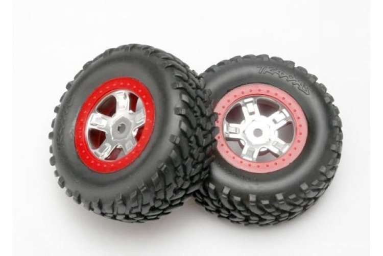 Покрышка колеса и диск колеса в сборе (Tires and wheels, assembled, glued (SCT satin chrome wheels, red beadlock style, SCT off-road racing)) артикул TRA7073A