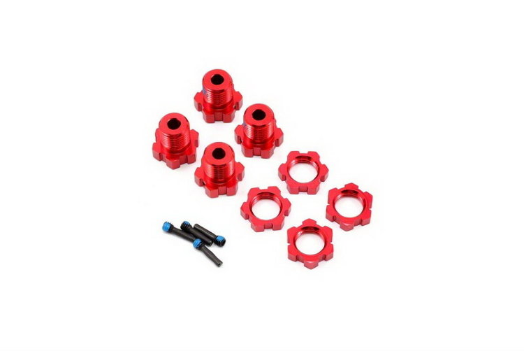 Wheel hubs, splined, 17mm (red-anodized) (4)/ wheel nuts, splined, 17mm (red-anodized) (4)/ screw pi артикул TRA5353R